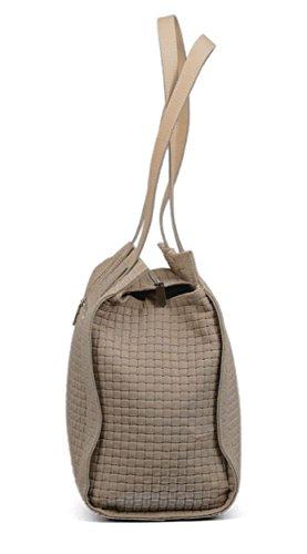 0e271d3cc6e85 Made in Italy Schultertasche Damentasche Ledertasche Vintage geflochten  Beige ...