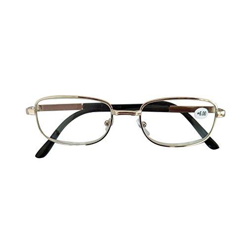 50 Gafas caso con de 4 00 5 4 6 el Gafas 5 Inlefen 50 del lectura metal 00 rectangulares del vintage Oro marco 00 Rpx78x4wq