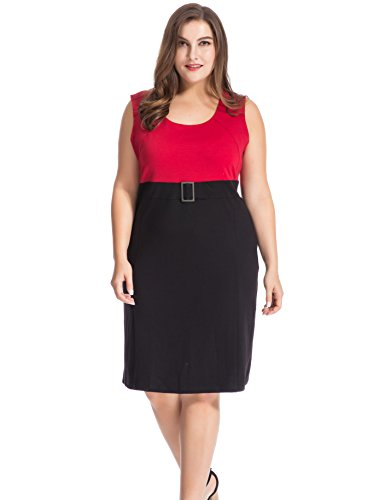 Metal Sleeveless Dress - Chicwe Women's Plus Size Sleeveless Work and Casual Dress Knee Length - Metal Buckled Waistband Cherry 22
