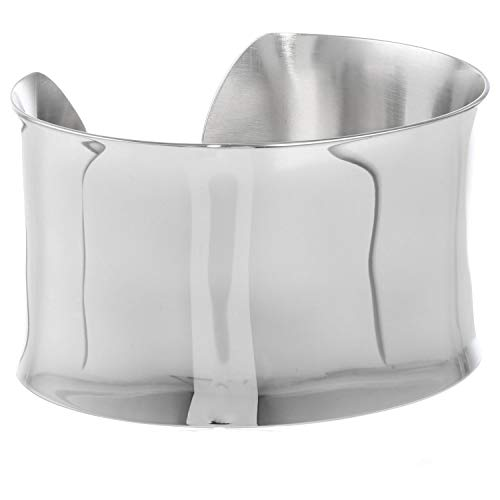 - Lavari - Stainless Steel Plain Wide Cuff Bangle