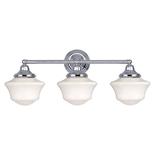 Schoolhouse Bathroom Light with Three Lights in Chrome Finis