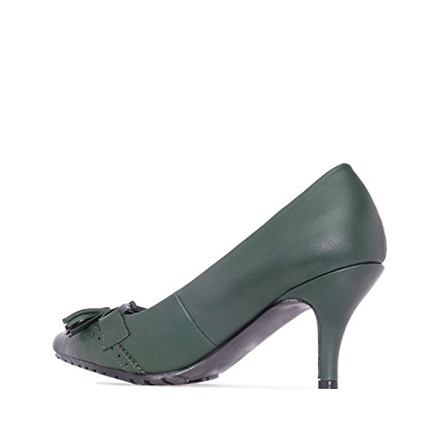 Andres Machado.AM5106.Salones Borlas en Soft. Tallas Pequeñas y Grandes Mujer. 32/35-42/45 Verde