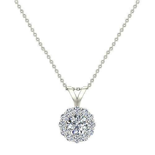 Halo Diamond Necklace Round Brilliant Earth-mined 14K White Gold Pendant