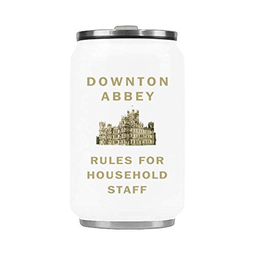 WECE Funny Gift Downton Abbey Rules for Household Staff Mug Travel Coffee Mug Stainless Steel Insulated Tumbler Vacuum Cup With Straw 10.3 OZ -