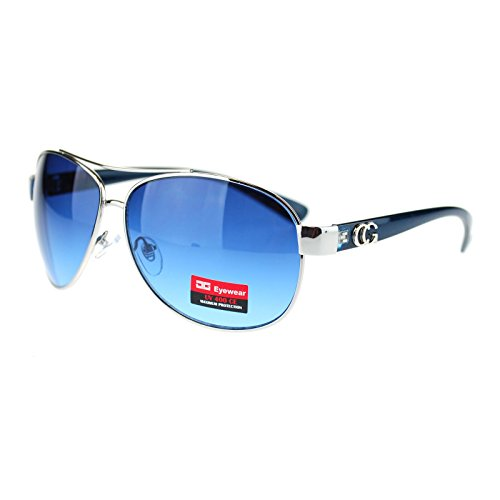 CG Eyewear Womens Designer Fashion Diva Aviator Sunglasses Silver Blue Designer Fashion Eyewear