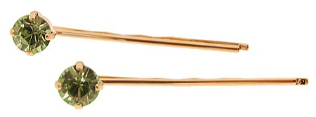 L. Erickson Little Gem Bobby Pin Pair - Peridot/Gold