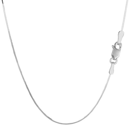 Sterling Silver Rhodium Plated Octagonal Snake Chain Necklace, 0.9mm, (0.9 Mm Octagonal Snake)
