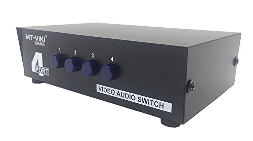 LEMENG 4 Port 4 Input 1 Output Video Audio AV Switch Selector Splitter Box - Av 4 Input Audio Video