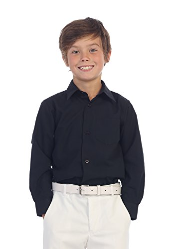 Gioberti Boys Solid Dress Shirt, Black, 5