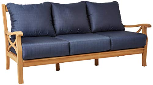 Cambridge-Casual Solid Teak Wood Chester Patio Sofa, Navy