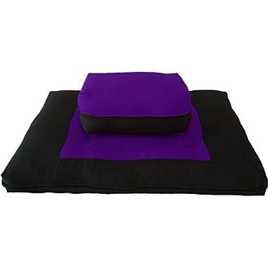 Brand New Black/Purple Zabuton Zafu Set, Yoga, Meditation Seat Cushions, Kneeling, Sitting, Supporting Exercise Pratice Zabuton & Zafu Cushions.