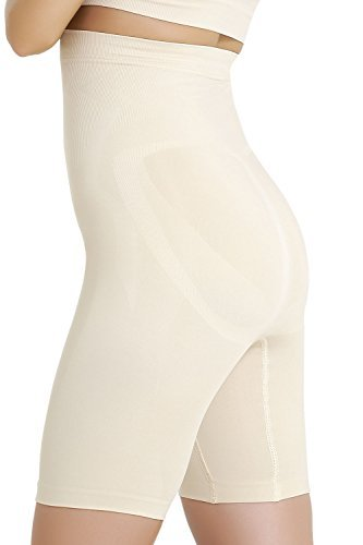 FORMeasy Women`s Seamless Shapewear Hi-Waist Long Leg Shaper, Thigh Slimmer, Tummy Control Panties, Firm Body Shaper, Stretch Waist, PushUp , Breathable Comfortable to use, Beige-Nude, X-Large