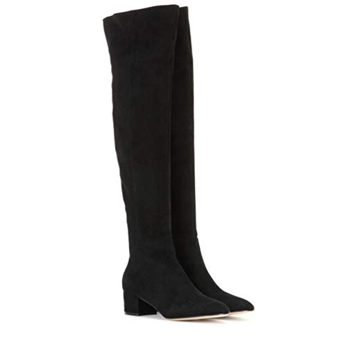 T-JULY Fashion Winter Women Over The Knee Boots Faux Suede Square Thigh High Heel Ladies Boots Black