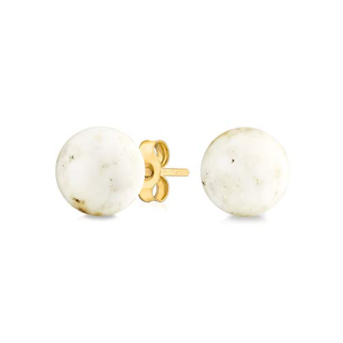 Simple Gemstone White Vain Onyx Round Ball Stud Earrings For Women Real 14K Yellow Gold 6MM