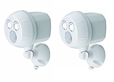 2 Pack Mr. Beams MB380 Weatherproof Wireless Battery Powered LED Ultra Bright 300 Lumen Spotlight with Motion Sensor, White