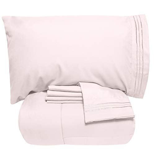 Sweet Home Collection 4 Piece Comforter Set Bag Solid Color All Season Soft Down Alternative Blanket & Luxurious Microfiber Bed Sheets, Twin XL, Pale Pink