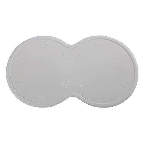 POSAPET Silicone Dog Cat Bowl Mat Waterproof Pet Feeding Mat Non-Slip Dog Placemat Water Bowl Pad Gray 18.7″x10.63″