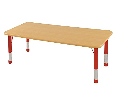 ECR4Kids Chunky Rectangular Activity Table in Maple and Red For Sale