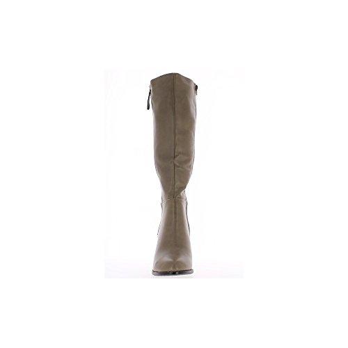 Botas de tacos de talón de cuero taupe cm 8 gruesos