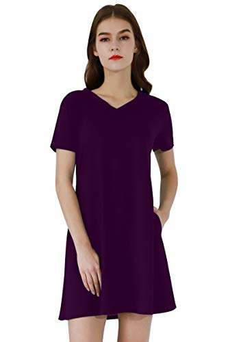 YMING Women's Comfy Loose Dress Shift and Fit Mini Dress Flare Flowy Dress Purple L