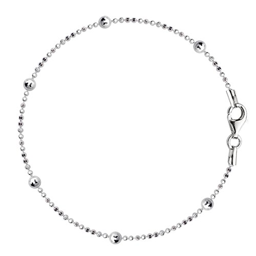 - Bead Link Chain Anklet In Sterling Silver, 10