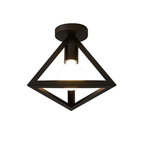 (Semi-Flush Mount Ceiling Light-Industrial Stylish Cone Shade Home Lamp-Hallway Study Room Office Bedroom Decoration (Black))