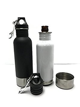 Craft Connections Stainless Steel Bottle Insulator with Opener - Pack of 2 (Matte Black-White)
