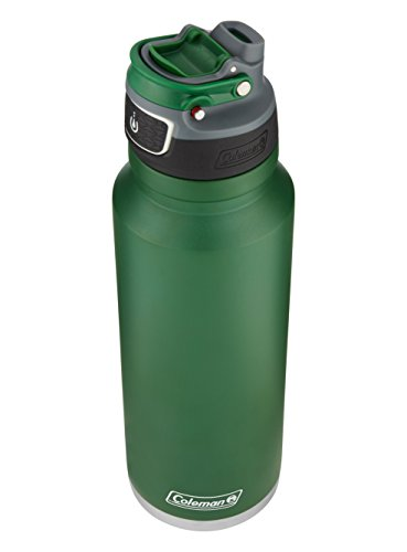 Coleman FreeFlow AUTOSEAL Insulated Stainless Steel Water Bottle, Heritage Green, 40 oz.