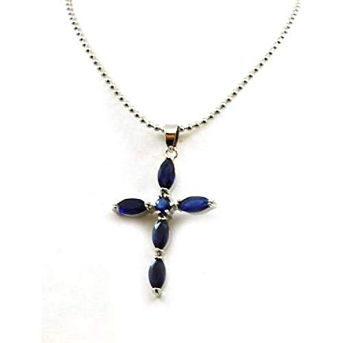 The Olivia Collection Silvertone Blue Glass Set Cross Pendant on 18