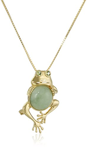 Round Ring Jade Pendant - 18k Yellow Gold Plated Sterling Silver Genuine Green Jade and Peridot Frog Pendant Necklace, 18