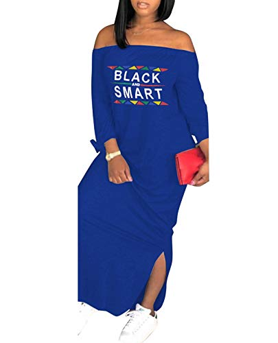 Womens Casual Off Shoulder Maxi Dress, Plus Size Loose Long Sleeve T-Shirt, Letter Print Bowknot Sides Split Fashion Party Dresses Blue (L)