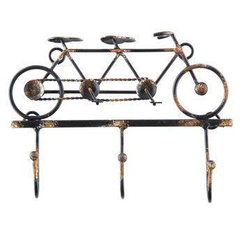 Wire and Metal Vintage Tandem 2 Seat Bicycle, with 3 Looped Ball Hooks, Old World Look, Distressed Finish Rusty Texture (Wall Bicycle Basket Metal)