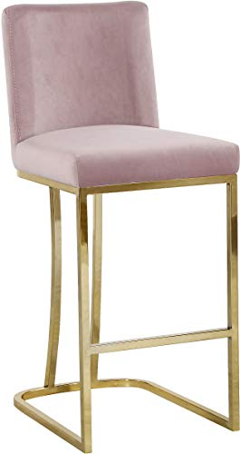 Meridian Furniture 777Pink-C Heidi Collection Modern | Contemporary Pink Velvet Upholstered Counter Stool with Polished Gold Metal Base, 16