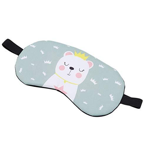 LZIYAN Cartoon Sleep Eye Mask Breathable Cute Animal Pattern Sleeping Mask Travel Sleeping Blindfold Nap Cover Gift For Everyone,Green Crown Bear by LZIYAN (Image #3)