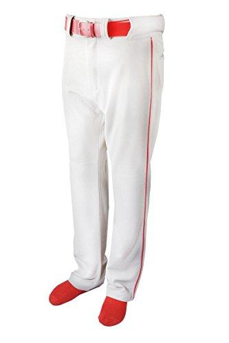 New Martin Baseball Softball White Belt Loop Pants w Red Piping Youth XS-XL (YM)