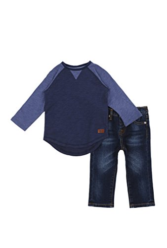 7 For All Mankind Boy's Long Sleeve Crewneck T-Shirt and Jeans 2 Piece Set Peacock 12 Months