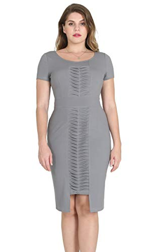 DILANNI Women's Retro 1950s Style Short Sleeve Slim Business Pencil Dress -