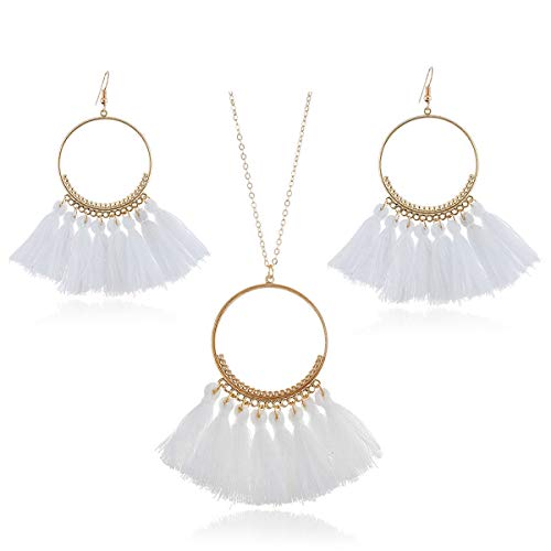 GaFree Women Colorful Bohemian Tassel Earrings Necklace Jewelry Sets Fashion Thread Fringe Long Pendant Necklace Chain Dangle Drop Earrings, White