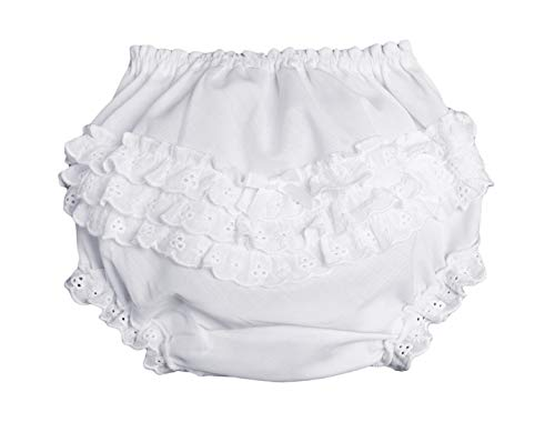 Little Things Mean A Lot Baby Girls White Elastic Bloomer Diaper Cover with Embroidered Eyelet Edging - SM