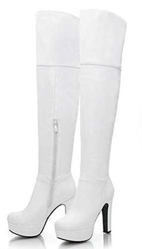 Knee High Platform Boots White (IDIFU Women's Sexy Platform Chunky Thigh Over Knee High Boots White 7.5 B(M) US)