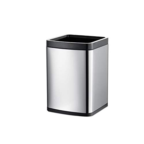 (YAN JUNau-Trash Cans Without Cover Ring Double Texture Removable Liner Anti-Fingerprint Stainless Steel Living Room Bedroom Bathroom 12L/15L (Color : Gray, Size : 12L 23x32.5cmk))