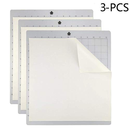Cutting Mat for Cricut, Silhouette Cameo 3/2/1 Adhesive&Sticky Gridded Cut Mats Replacement Matts Set Vinyl Craft Sewing Scrapbooking[Standard-Grip,12 x 12 inch,3pack]