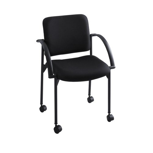 Safco 4184BL Moto Series Stacking Chairs Black Fabric Upholstery 2/Carton