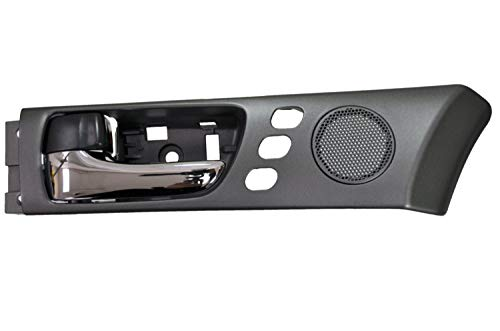PT Auto Warehouse LX-2240MA-FL2 - Interior Inner Inside Door Handle, Chrome lever with Black Housing, with Memory Seat Holes - Front Left Driver Side