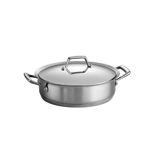 (Tramontina 80101/005DS Gourmet Prima Stainless Steel, Induction-Ready, Impact Bonded, Tri-Ply Base Covered Casserole, 5 Quart, Made in Brazil)