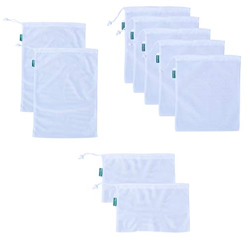 Earthwise Reusable Mesh Produce Bags - TARE WEIGHT TAGS on every bag Premium MACHINE WASHABLE Grocery Set of 9-3 Different Sizes 12x17in, 12x14in, 12x8in (Gift Tags Felt)