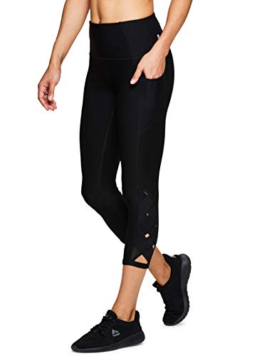 (RBX Active Women's Side Pocket Mesh Running Yoga Capri Spring19 Black)