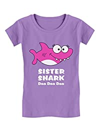 Tstars - Sister Shark Doo Doo Gift for Big Sister Girls' Fitted Kids T-Shirt