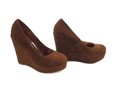 Suede Platform Wedge Pumps (5.5, Chestnut)