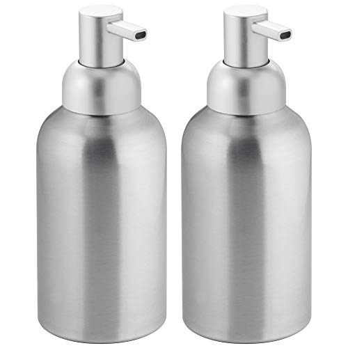 mDesign Modern Aluminum Metal Refillable Liquid Soap Dispenser Pump Bottle for Bathroom Vanity Countertop, Kitchen Sink - Holds Dish Soap, Hand Sanitizer, Essential Oils - Rust Free, 2 Pack - Brushed